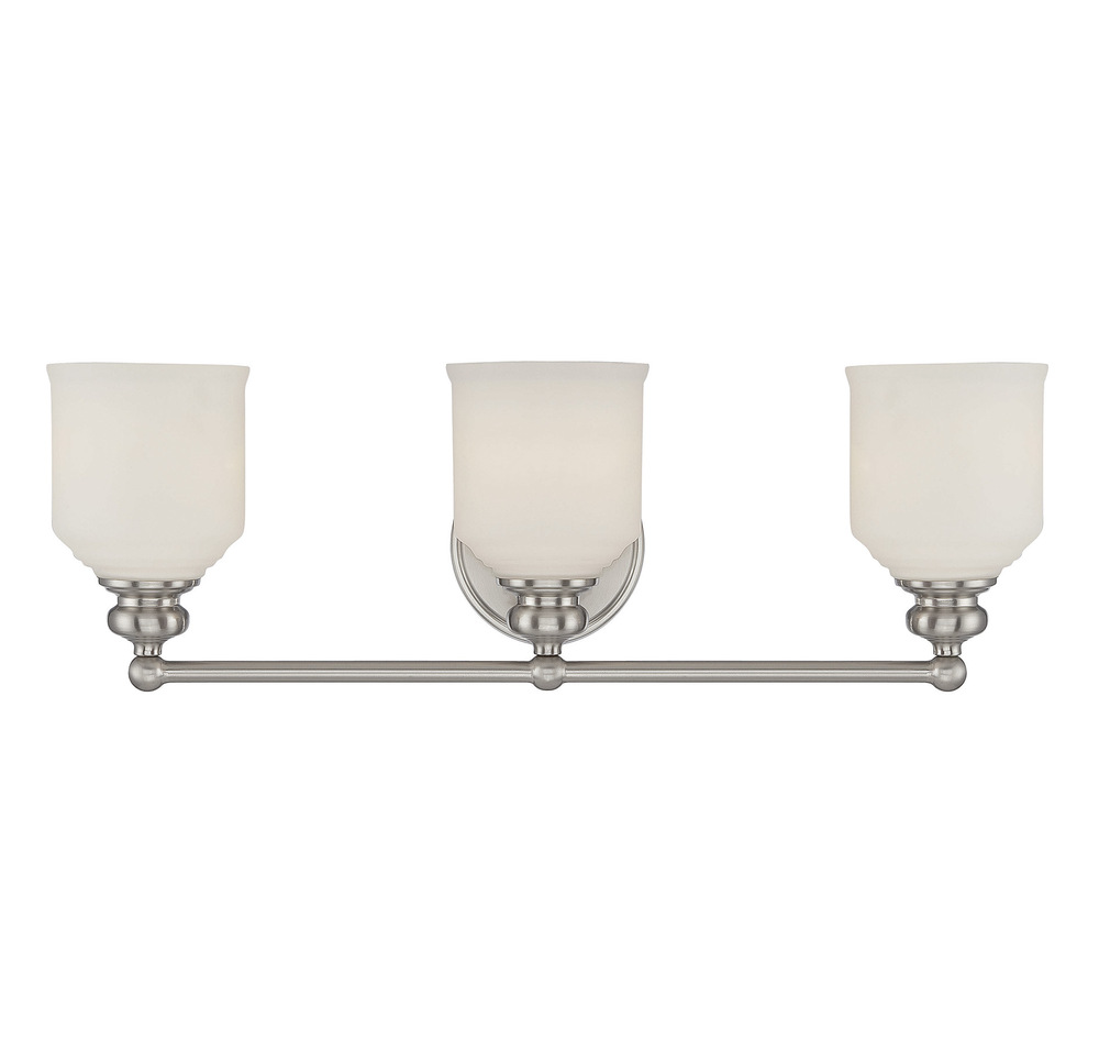 RGU 8-6836-3-SN 3X100M Melrose Satin Nickel Bath Vanity Light