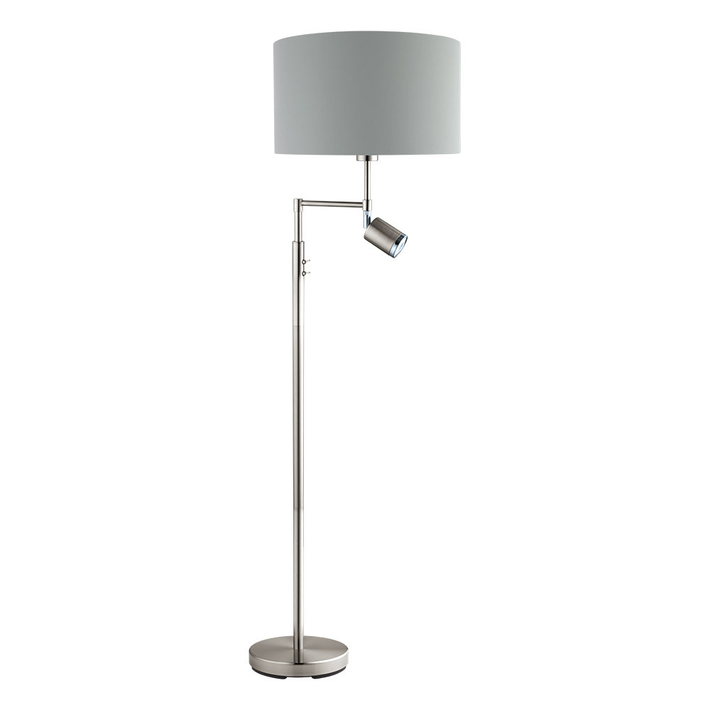 "EGLO 201828A Santander 1Lt Matte Nickel Floor Lamp 59.88""h x 14.88""D 60W E26 GU10 lamp not included"