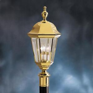 KIC 9989PB Three Light Polishe Brass Post Light 3X60C