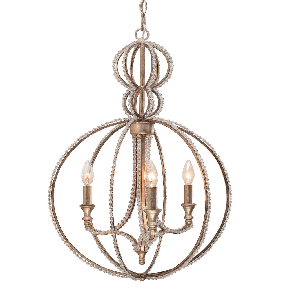 """CYS 6765-DT Garland 3Lt Distressed Twilight Mini Chandelier 18""""W x 28.5""""H 60W Candelabra lamp not included"""