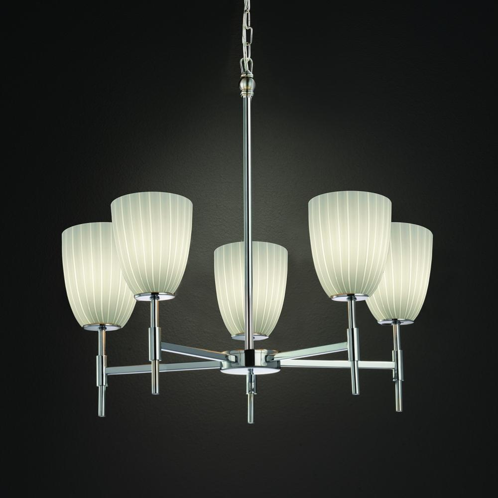 "JUS FSN-8410-18-RBON-CROM Union 5Lt Polished Chrome Chandelier 25"" H x 23.25"" D 100W A-19 lamp not included"