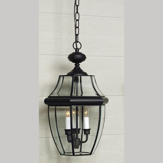 QUO NY1179K Three Light Mystic Black Hanging Lantern 3X60B10 Candelabra