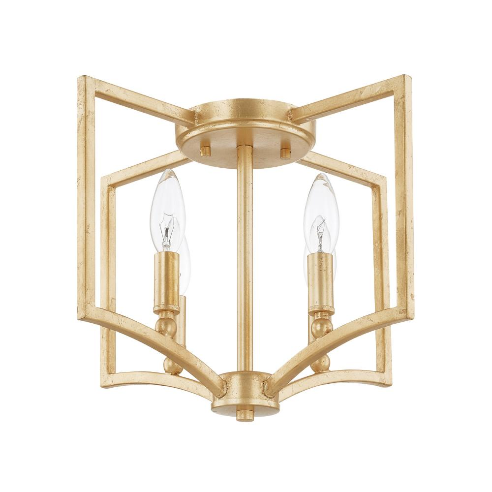 "CPL 219441CG Regan 4Lt Capitlal Gold Flush Mount 15""W x 13.25""H 60W Candelabra lamp not included"