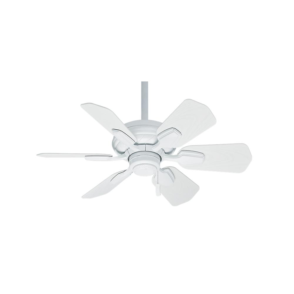 """CAS 59523 31""""WAILEA SNOW WHITE CEILING FAN MOTOR W/SNOW WHT ALL WEATHER BLADES. DAMP RATED."""