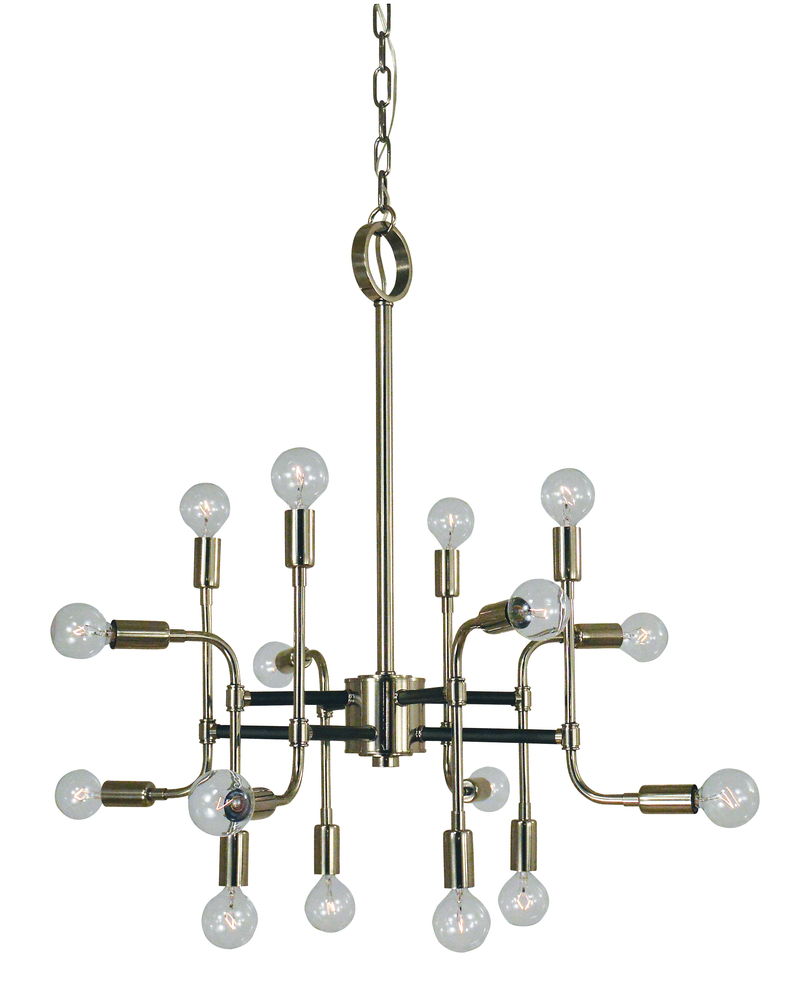 FRA 3056SB/MBLACK 16-Light Satin Brass/Matte Black Fusion Chandelier 16X60G16.5