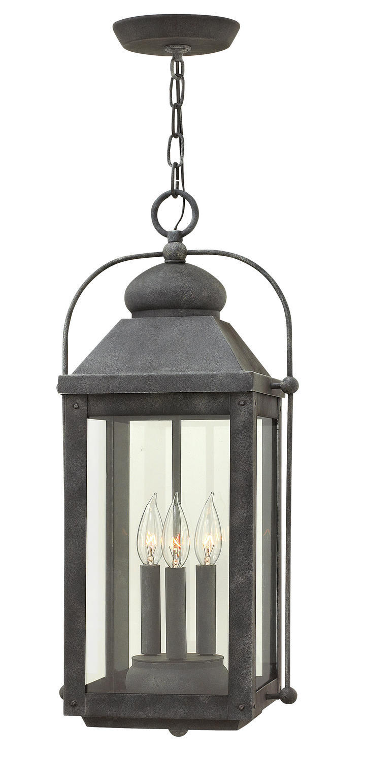 HIN 1852DZ 3 LIGHT Aged Zinc Exterior Hanging w/Clear Glass 3x60c