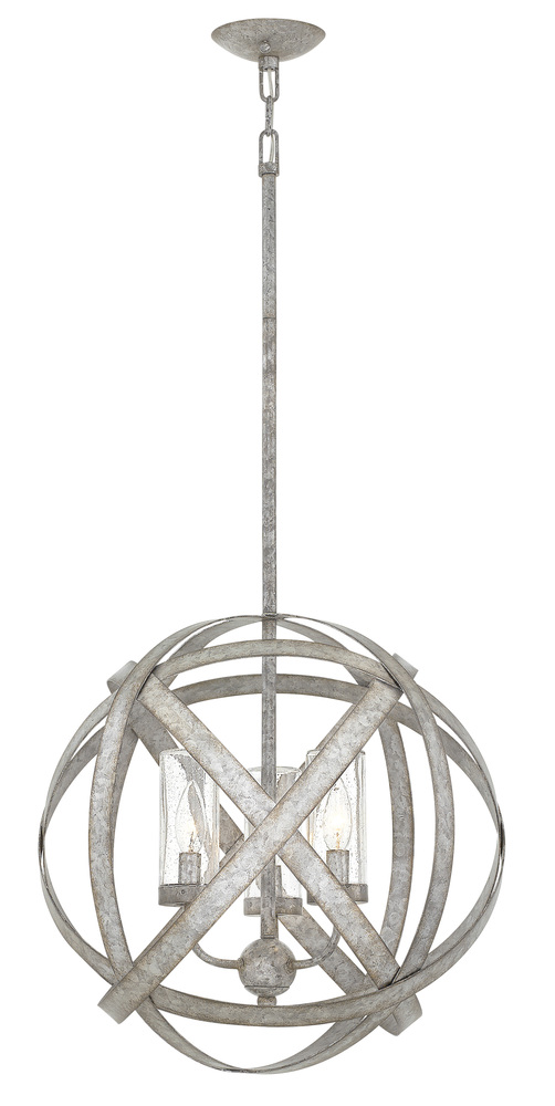 "HIN 29703WZ Carson 3Lt Weathered Zinc Chandelier 18.5""W x 19""H 60W Candelara lamp not included"