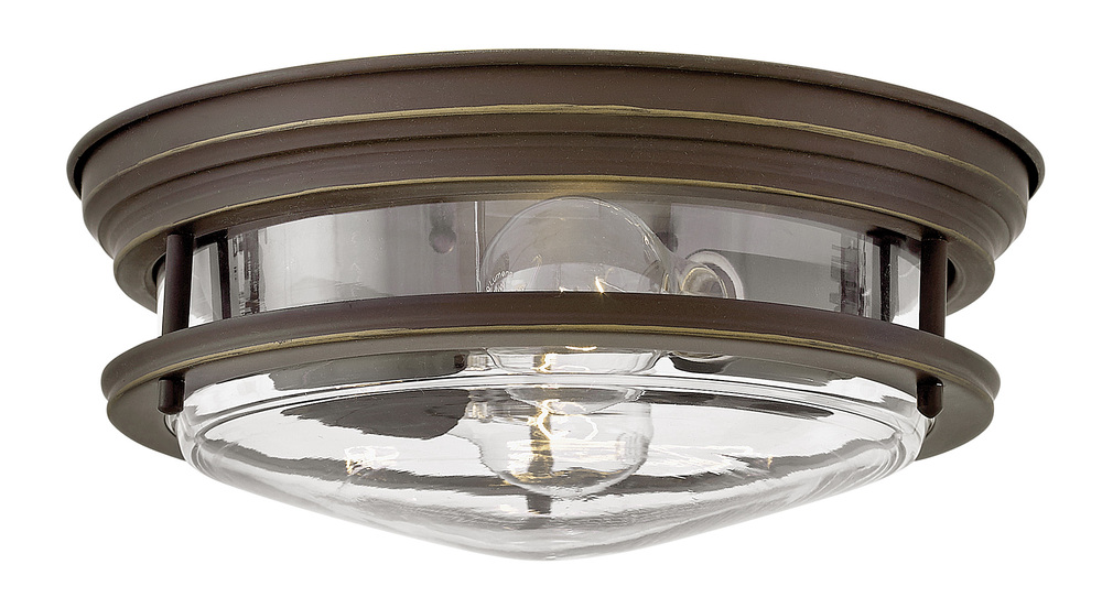 "HIN 3302OZ-CL Hadley 2Lt Oil Rubbed Bronze Flush Mount 12""W x 4.8"" H 60W Med lamp not included"