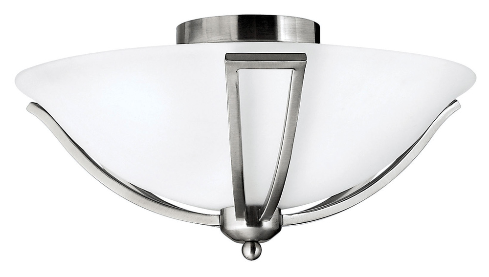 HIN 4660BN Two Light Brushed Nickel Etched Opal Glass Bowl Semi-Flush Mount 2X75M NEWSTOCK AUG 2019